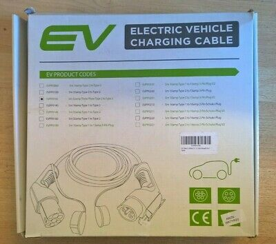 EV Electric Vehicle 32A 5m  3 Phase Type 2 to Type 2 Vehicle Charging Cable