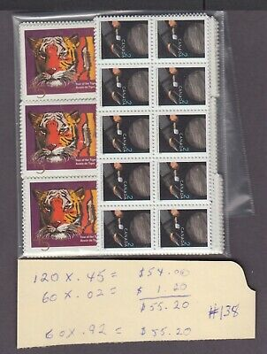 CANADA MINT POSTAGE LOT $55.20 = 60 x 92 cents MNH FACE FOR $40.00 SEE LIST #138