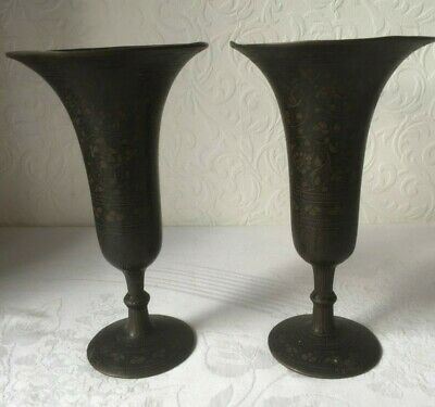 Pair Antique Islamic Middle Eastern Metal Brass Vases Decorated