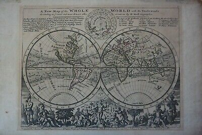 Weltkarte. Herman Moll. A new Map of the whole World. Kupferstich-Karte ca. 1732
