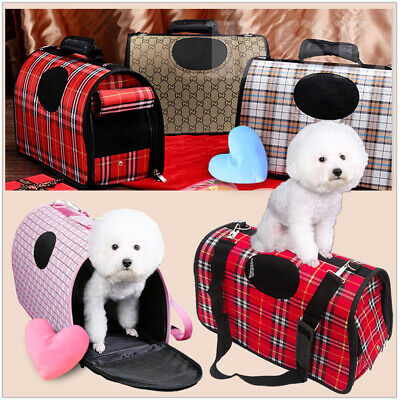 S Cream Pet Dog Cat Puppy Portable Travel Carry Carrier Tote Cage Crate + Strap