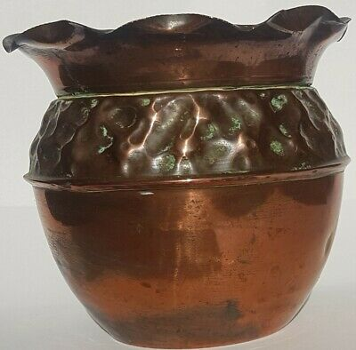 English Arts & Crafts Hand Beaten Copper Jardiniere.