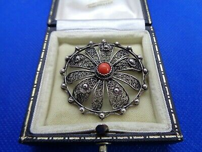 Large Antique Victorian Silver & Natural Coral Sweetheart Brooch