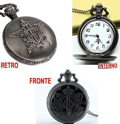 Kuroshitsuji Pocket Watch Necklace Necklace Black Butler Clock Charm Ciel 1