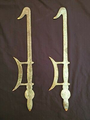 2 Antique Chinese Hook Swords with Gilded Tips Probably Bronze with Green Patina
