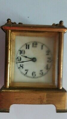 Antique Waterbury Clock Co Brass Carriage Repeater Striking Clock -