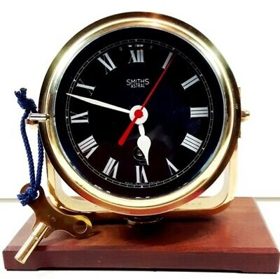 SHIPS BULKHEAD NAVAL CLOCK ~ *SMITHS ASTRAL*~ SOLID BRASS ~ BLACK FACE ~ c1942
