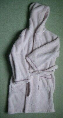 Girls Dressing Gown Age 9-10 - pale pink fleece - VGC