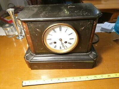 Black Slate and Marble Mantle Clock for spares or repairs. Untested. Ref B