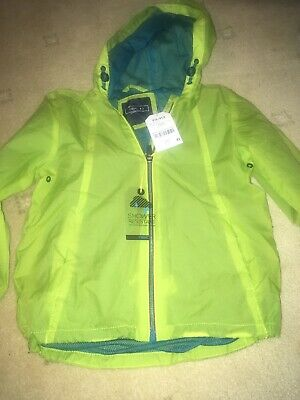 Next Showerproof Coat Jacket Age 4-5 Bright Green Pack Away BNWT Boys Girls