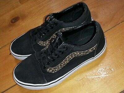 Vans Girls Black And Leopard Print Trainers Size UK 2