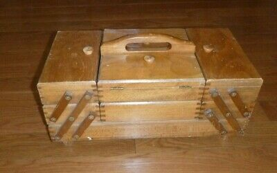 Vintage Sewing Craft Box Fold Out Accordion Style Wood  Made In Romania 1988