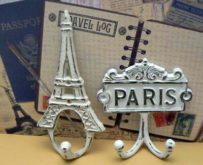 Paris Eiffel Tower Wall Hooks White French Shabby Chic Design Art Deco Gift