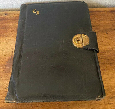 1914 Antique  Leather Binder Notebook, With Dictionary! Very Cool