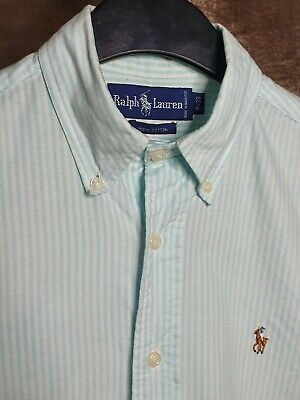 Polo By Ralph Lauren Mens Shirt White Blue Stripe Large Long Sleeve