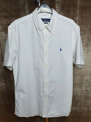 Polo By Ralph Lauren Mens Shirt White Blue Large Short Sleeve