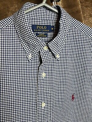 Polo By Ralph Lauren Mens Shirt Blue White Checked Medium Slim Fit Long Sleeve
