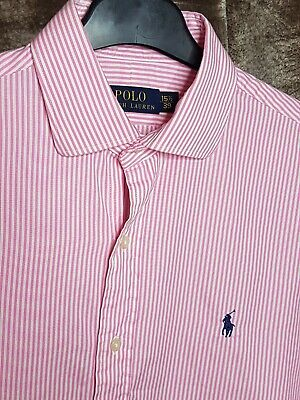 Polo By Ralph Lauren Mens Shirt Pink White Stripe Large Long Sleeve