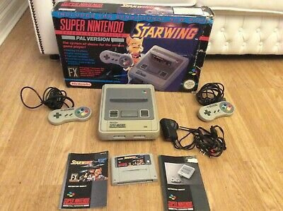SNES Super Nintendo Console Boxed With Starwing Game