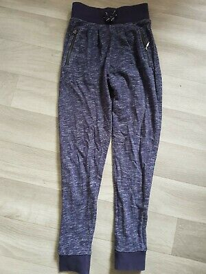 Girls Joggers Sweatpants Age 7 Years Navy Blue Marl Trousers Zip Pockets