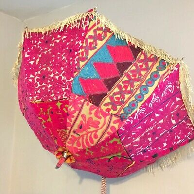 UMBRELLA INDIAN PARASOL WEDDING VINTAGE BOHO 60s 70s EMBROIDERY KASHMIR HIPPY