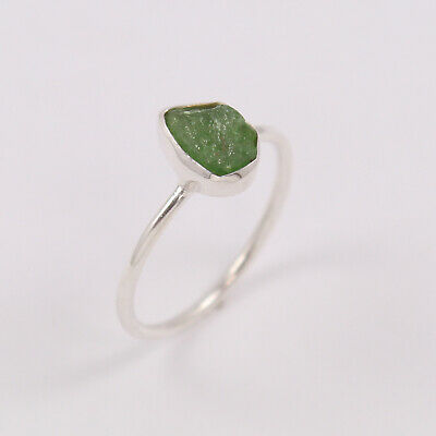 GREEN GARNET Rough Stone 925 Sterling Silver Ring Size UK O Best Christmas Gift