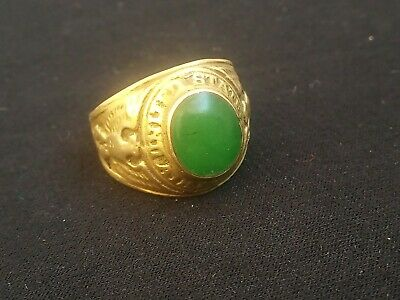 Rare Ancient Solid Ring Roman bronze Stunning Artifact Type with Green stone