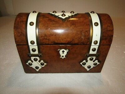 Antique 1800's Large Domed Walnut,Ivory Accents Box,KEY, Beautiful! Free Ship