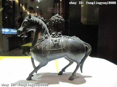 """6""""Chinese Folk exquisite 100% Pure Copper Bronze Auspicious Lucky Tang Horse"""