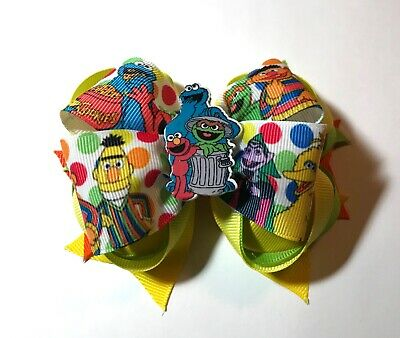 Handmade Sesame Street Stacked Boutique Girls Hair Bow Elmo Big Bird Cookie
