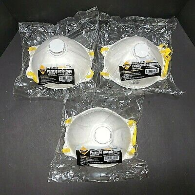 (3) NIOSH N95 Particulate Respirator Mask Valve WESTERN SAFETY 61434 Virus Flu