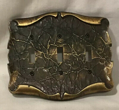Vintage  Amerock Carriage House Antique Brass Triple Switch Wall Plate Cover