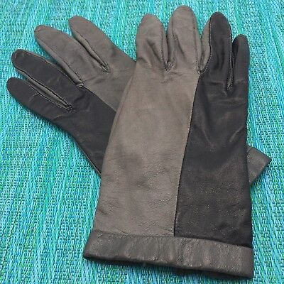 Black & Gray Leather Driving Gloves Womens Sz 7.5 Two Tone Vintage Estate Find