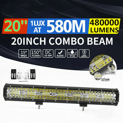 20'' inch LED Light Bar Tri-row Spot Flood Combo Driving Offroad Truck 4WD 22''