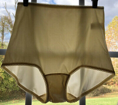 Vintage Ivory Underscore Satin High Waist Brief Panty Size XXL