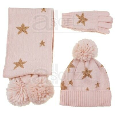 Girls ex M/&S Bobble Hat Gloves Scarf Knitted Pink Gold Star Winter Set 6-10 Yrs