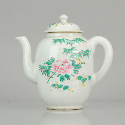 Large Antique Late Qing or Republic Period Famille Rose teapot Flowers B...