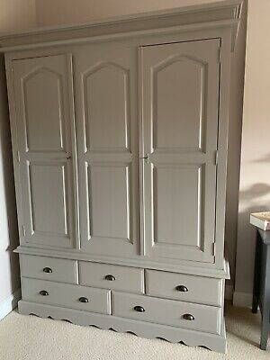 Farrow And Ball Grey Painted Pine Triple Wardrobe With 5 Drawers