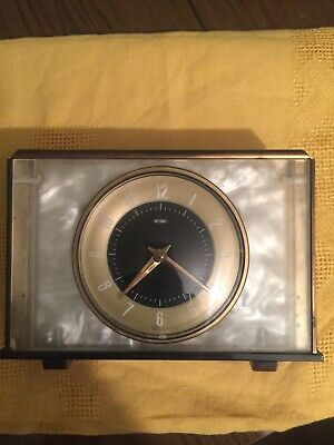 Vintage Metamec onyx and brass style mid century retro wind up mantle clock