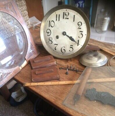 antique clock parts. Movement Glass Chime Pendulum wood and bits
