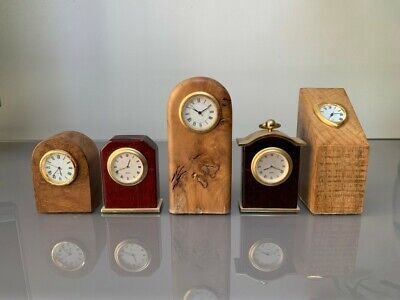 Job lot of 5 wooden miniature clocks - with watch movements