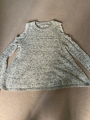 Abercrombie And Fitch Girls Jumper Age 11-12 Grey Cold Shoulder