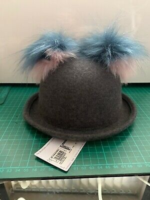 Marks And Spencer Baby Toddler Wool Hat With Pom Poms Grey Blue 6-18m