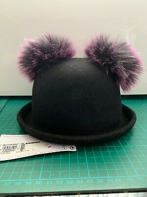Marks And Spencer M&S Baby Toddler Wool Hat With Pom Poms Black Purple 6-18m