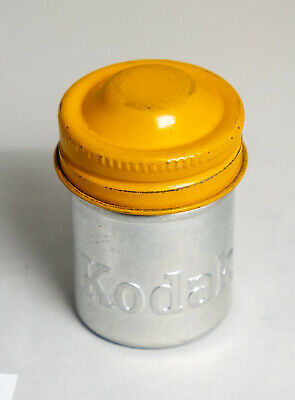 VINTAGE 35mm KODAK METAL FILM CANISTER / TIN in Yellow 1950's