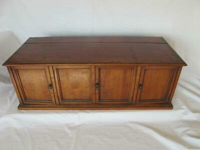 Antique Mahogany 4 Door Table Top Cabinet With Hinged Lift Up Lid Lovely Patina