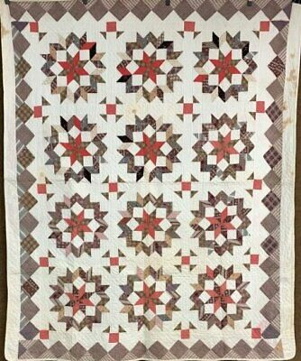 Early Browns! Antique PA Broken Star QUILT Monkey Wrench Primitive