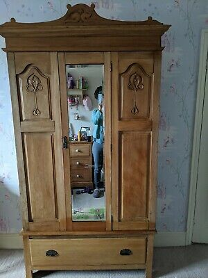 Beautiful antique pine Victorian/Edwardian single wardrobe with aged mirror