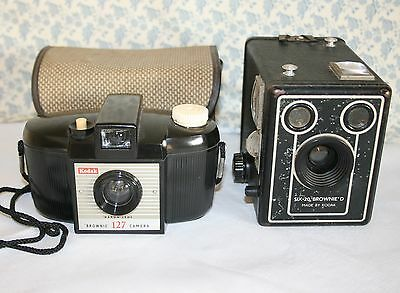 Two Vintage Brownie Cameras - SIX-20 D Box Camera and Brownie 127