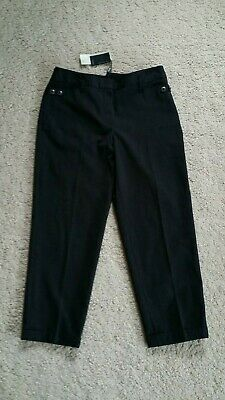 Bnwt Next Dark Grey Brown Cropped Capri Suit Trousers 12 Tailored Work Pockets